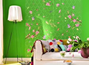 Grüne Tapete Mit Blüten Und Vögel