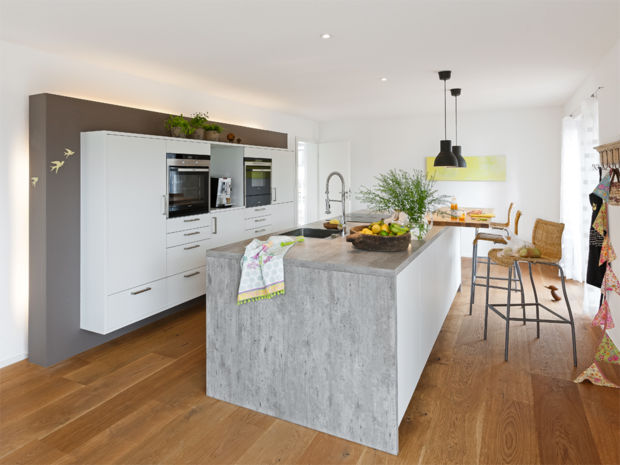 Attraktiv Küche Holzdielen Wandschrank