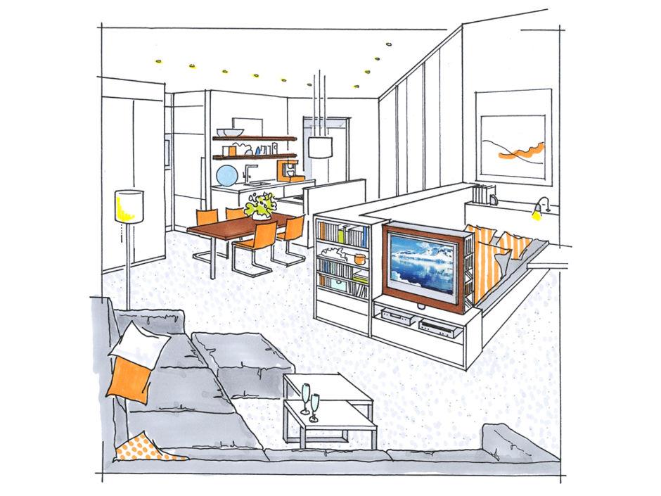studio gestalten mit system zuhausewohnen. Black Bedroom Furniture Sets. Home Design Ideas