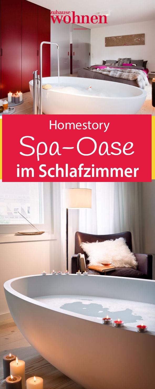 Ein Schlafraum als Wellnessoase – die offene Beziehung von Bett und Bad wünschte sich der Hausherr für seine kleine Stadtwohnung.