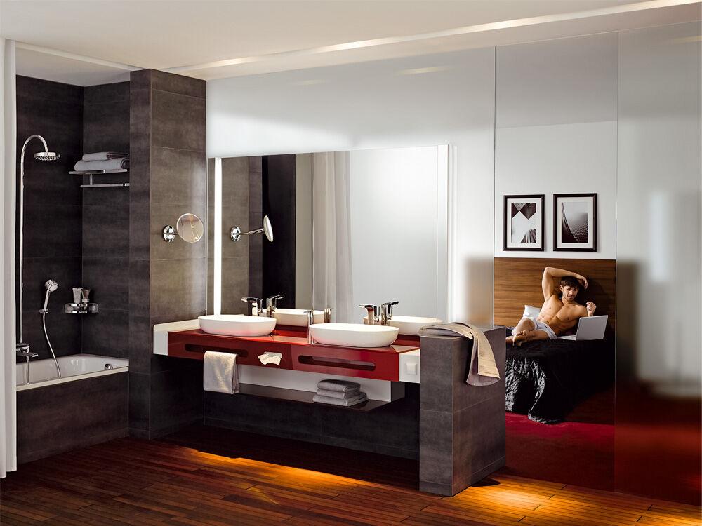 schlafzimmer und bad in einem raum. Black Bedroom Furniture Sets. Home Design Ideas