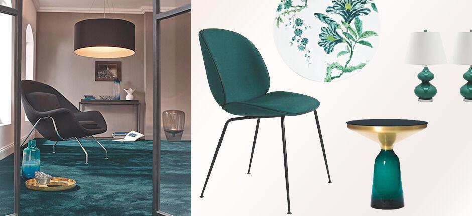 Deko und Möbel im Herbstlook sattes Grün