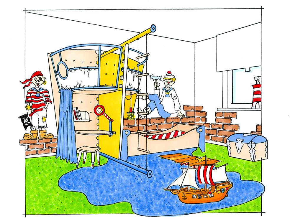 kinderzimmer kinderzimmer deko pirat tausende. Black Bedroom Furniture Sets. Home Design Ideas