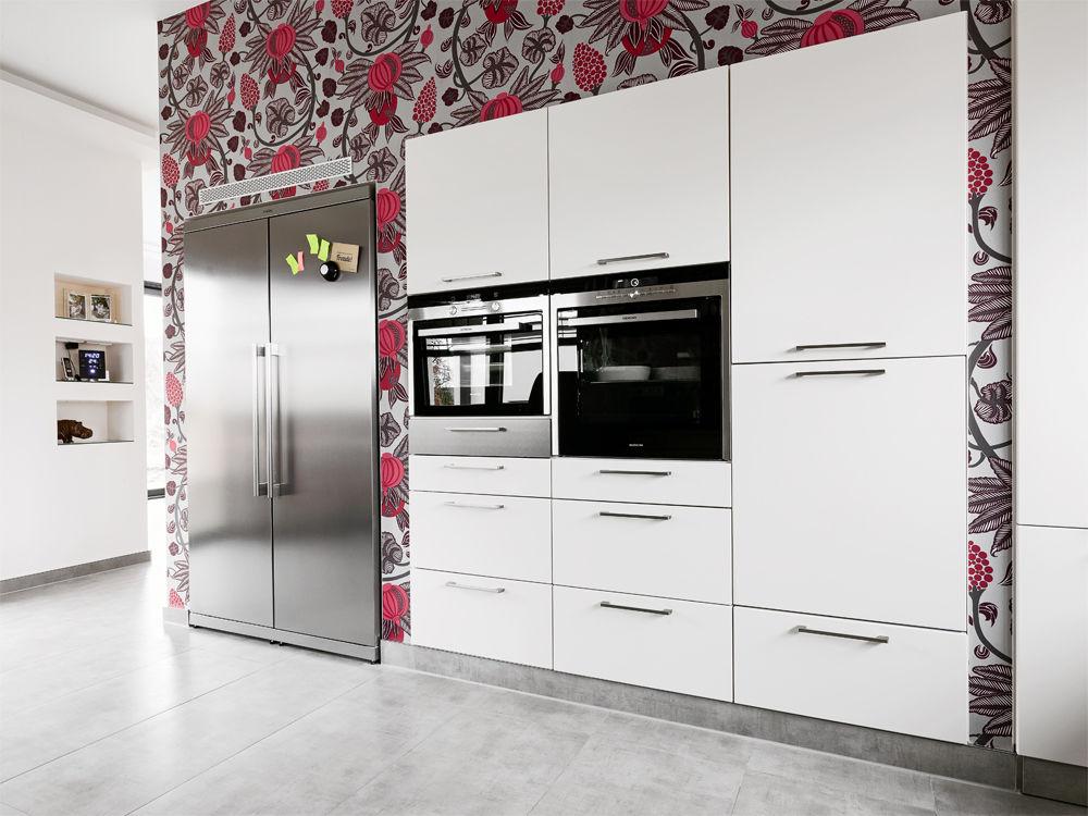 Side By Side Kühlschrank Direkt An Wand : Side by side kühlschrank direkt an wand küche ganz in weiß mit