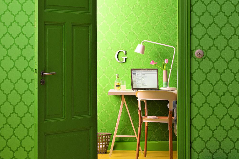 Grüne Mustertapete