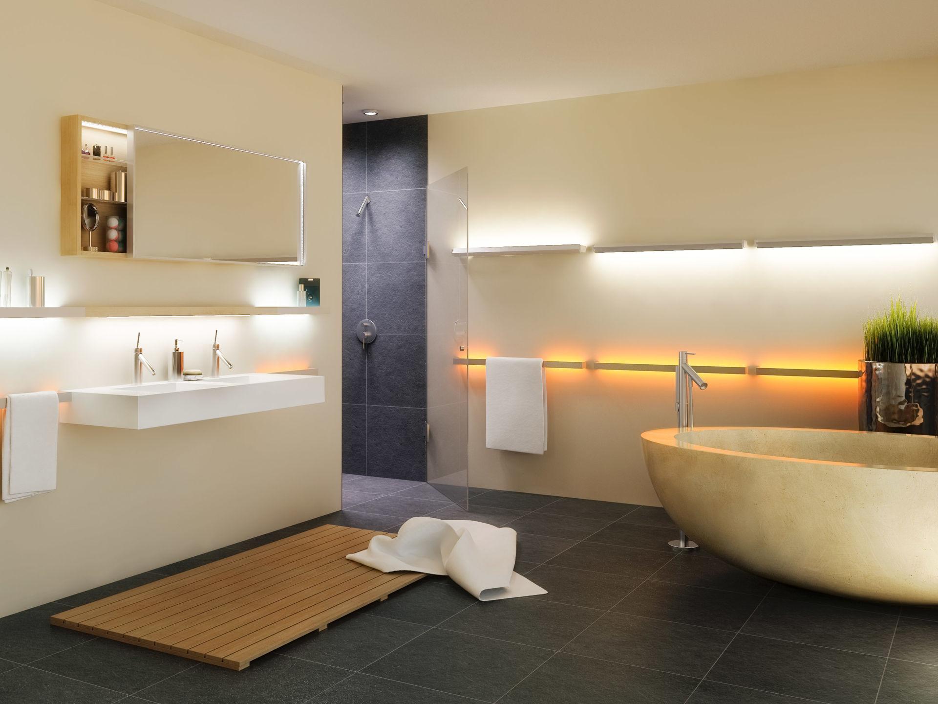 die richtige beleuchtung im bad zuhause wohnen. Black Bedroom Furniture Sets. Home Design Ideas