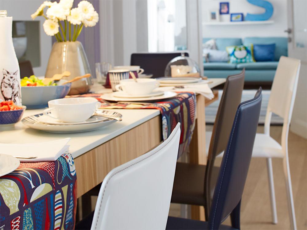 Stühle Hülsta braun weiß blau