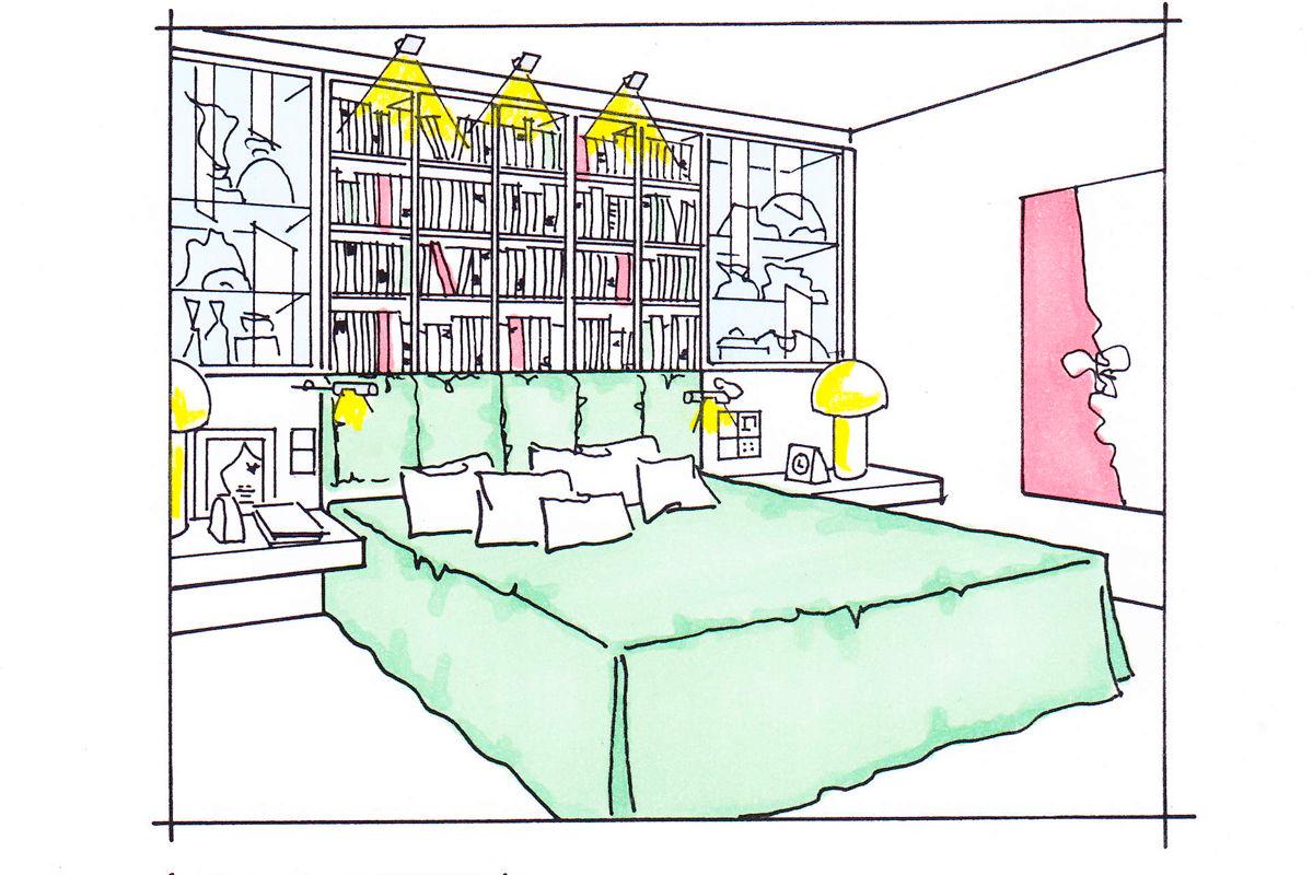 Bücherwand Bett