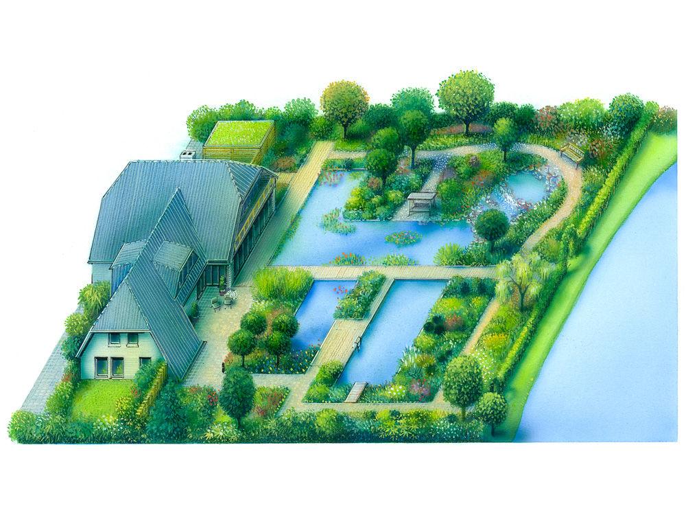 Garten mit Schwimmteich