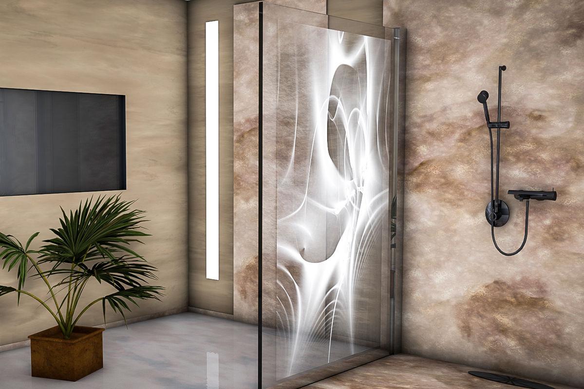 Duschwand mit  LED-Lichttechnik